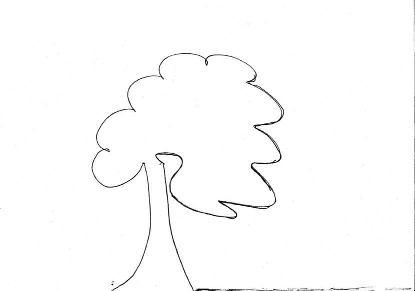 arbol inclinado dibujado