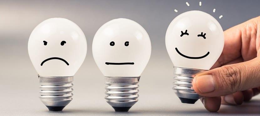 bombillas tristes y felices