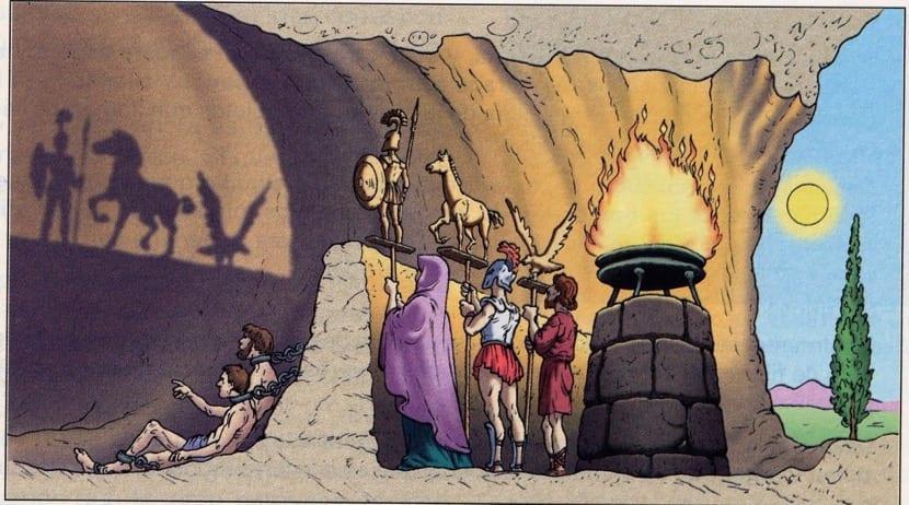 dibujo del mito de la caverna de platón