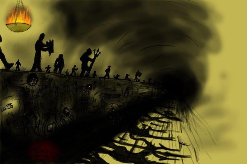 los encadenados del mito de la caverna en la oscuridad